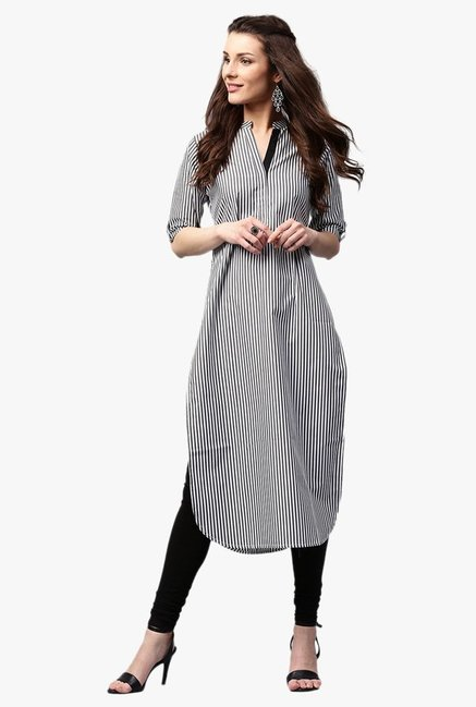 c059c4f2feb Buy Libas Black   White Striped Cotton Pathani Kurta for Women ...
