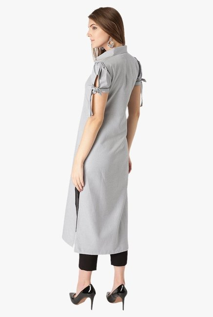 Libas Grey Checks Cotton Straight Kurta