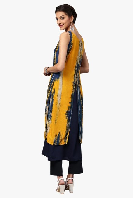 Libas Yellow & Navy Printed Rayon Kurta