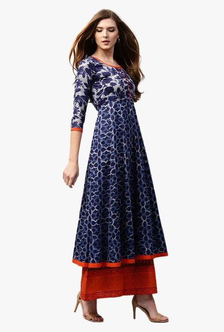 6ec78a83a17 Buy Libas Navy Printed Cotton Anarkali Kurta for Women Online   Tata CLiQ
