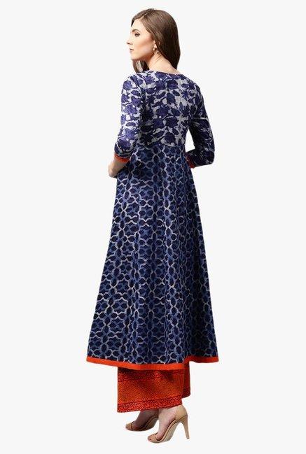48a86b5bdff Buy Libas Navy Printed Cotton Anarkali Kurta for Women Online   Tata ...