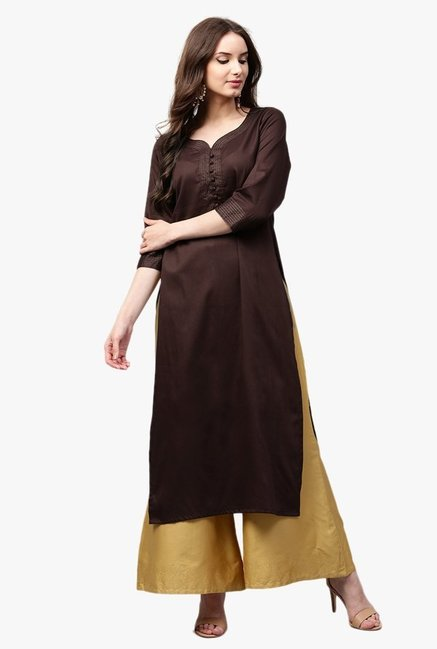 Libas Brown Regular Fit Cotton Straight Kurta