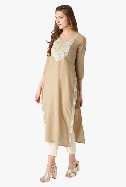Libas Beige Embroidered Cotton Straight Kurta