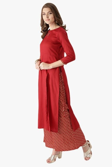 Libas Red Cotton Kurta With Printed Palazzo