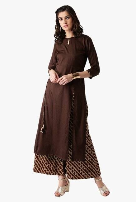 Libas Brown Cotton Kurta With Printed Palazzo