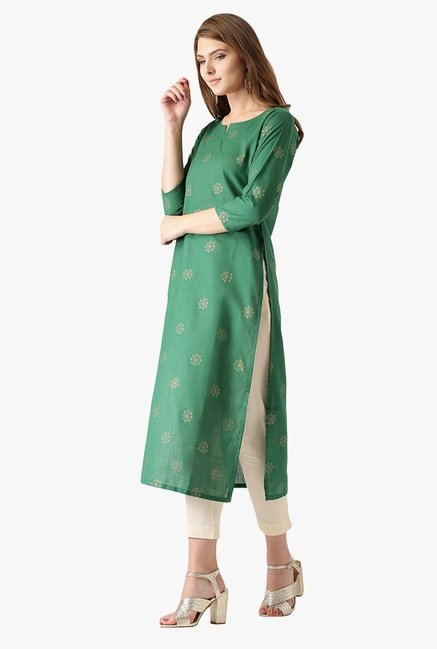 Libas Green Printed Cotton Kurta
