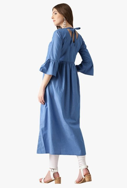 Libas Blue Textured Cotton Kurta