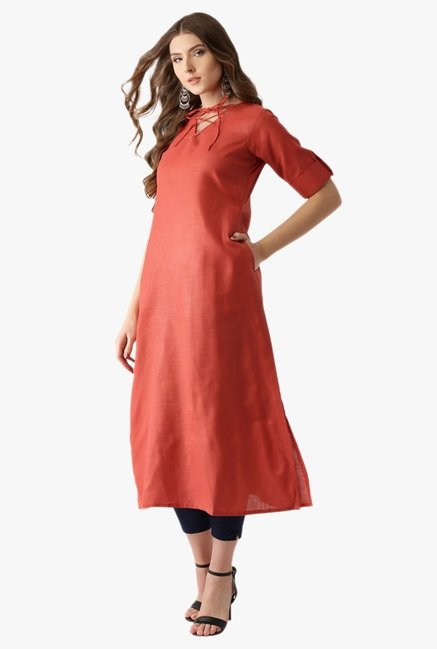 Libas Red Textured Cotton A-Line Kurta
