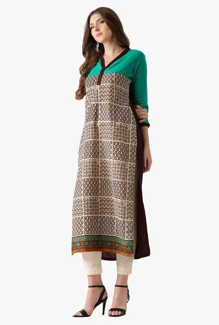 Libas Beige Printed Cotton Straight Kurta