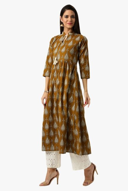 Libas Brown Printed Cotton Kurta