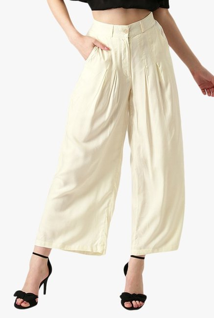 Libas Off White Regular Fit Rayon Palazzo