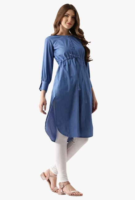 Libas Blue Textured Cotton Pathani Kurta