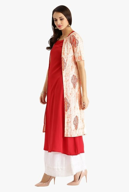 Libas Red & Off White Printed Polyester Kurta