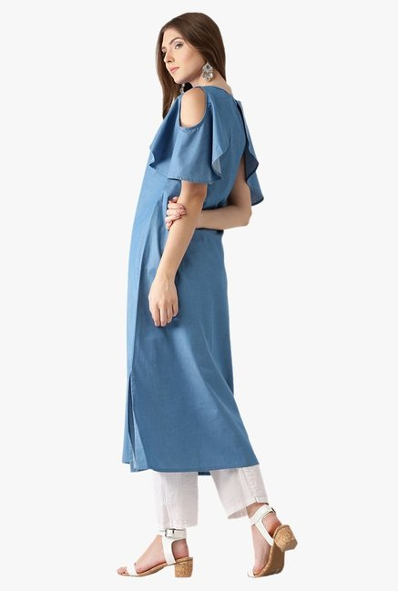 Libas Blue Textured Cotton A-Line Kurta