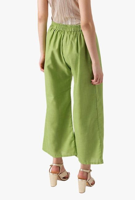 Libas Green Textured Cotton Palazzo
