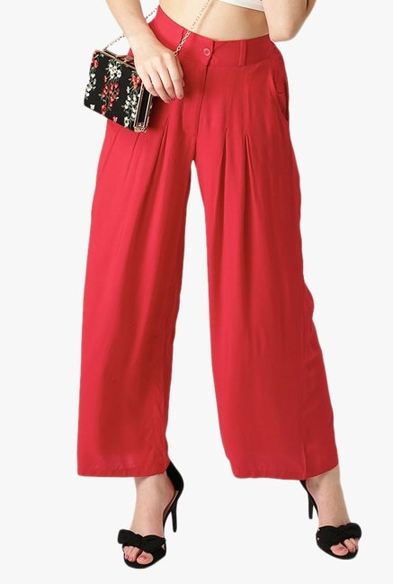 Libas Red Regular Fit Rayon Palazzo