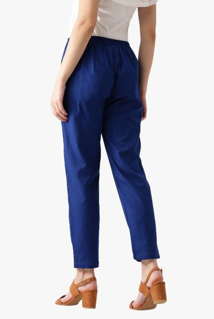 Libas Blue Regular Fit Cotton Pants