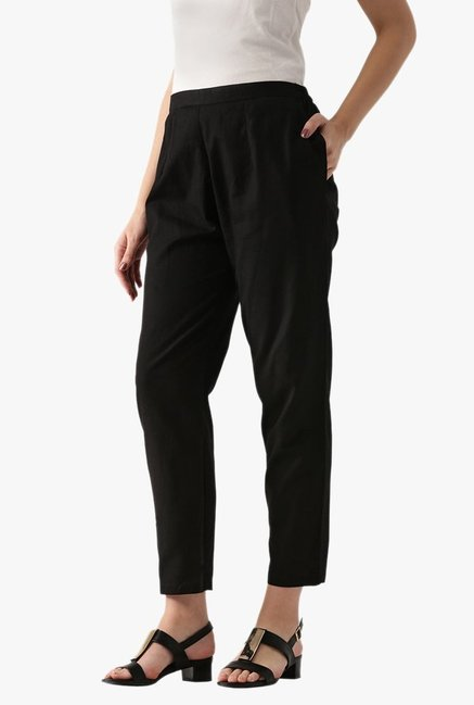 Libas Black Regular Fit Cotton Pants