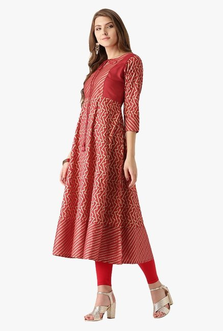 Libas Red Printed Cotton Anarkali Kurta