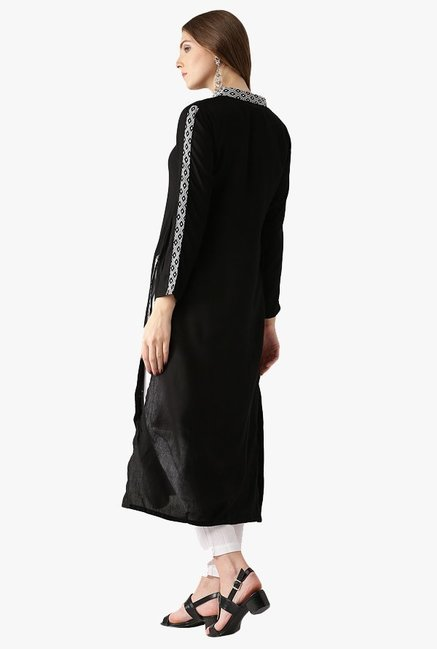Libas Black Regular Fit Rayon Straight Kurta