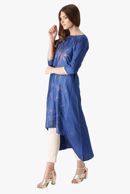 Libas Blue Printed Cotton Kurta