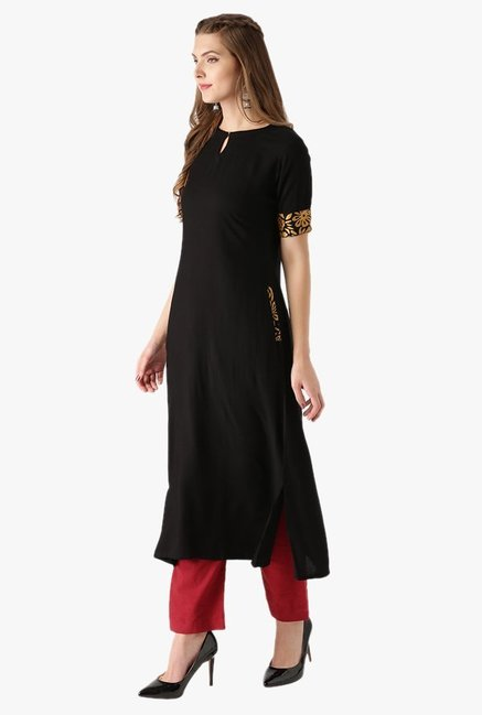 Libas Black Regular Fit Rayon Kurta