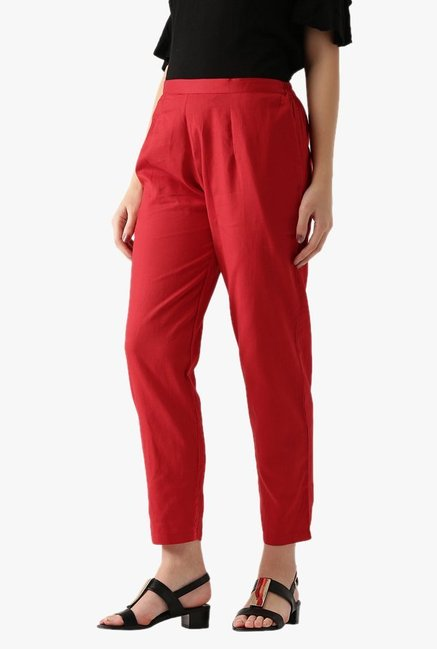 Libas Red Regular Fit Cotton Pants