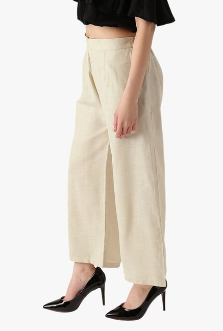Libas Off White Textured Cotton Palazzo