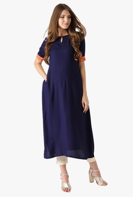 Libas Navy Regular Fit Rayon Kurta