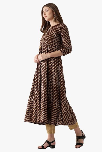 Libas Brown Printed Cotton Anarkali Kurta