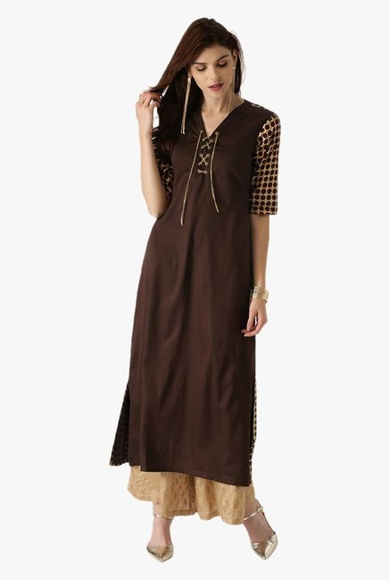 Libas Brown Regular Fit Cotton A Line Kurta