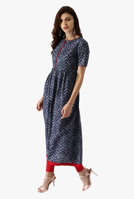 Libas Navy Printed Cotton Kurta