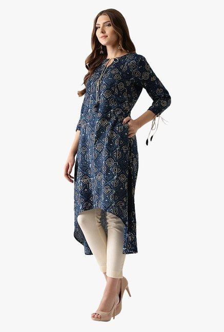 Libas Navy Printed Cotton A-Line Kurta