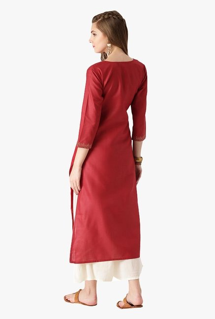 Libas Red Printed Cotton Straight Kurta