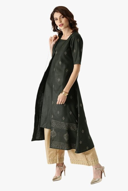 Libas Green Printed Cotton Double Layered Kurta