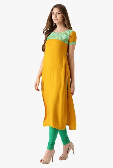 Libas Mustard Regular Fit Rayon Straight Kurta