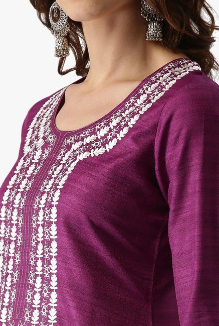 Libas Purple Embroidered Chanderi Kurta