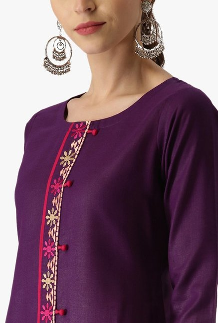 Libas Purple Embroidered Rayon Kurta