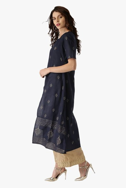 Libas Navy Printed Cotton A Line Kurta