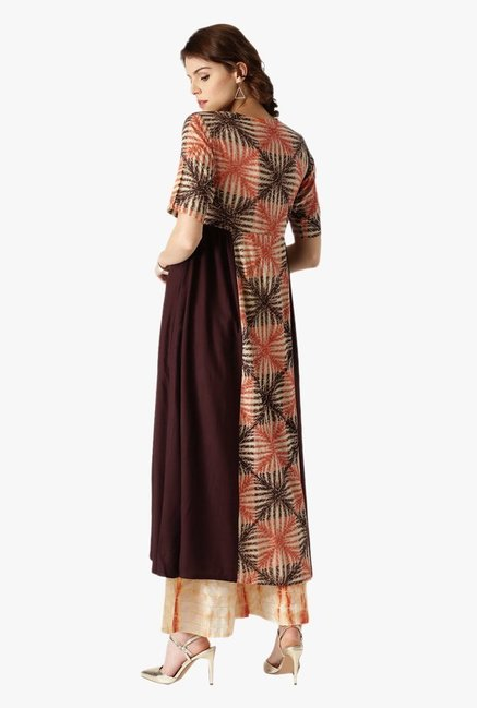 Libas Brown Printed Rayon Anarkali Kurta
