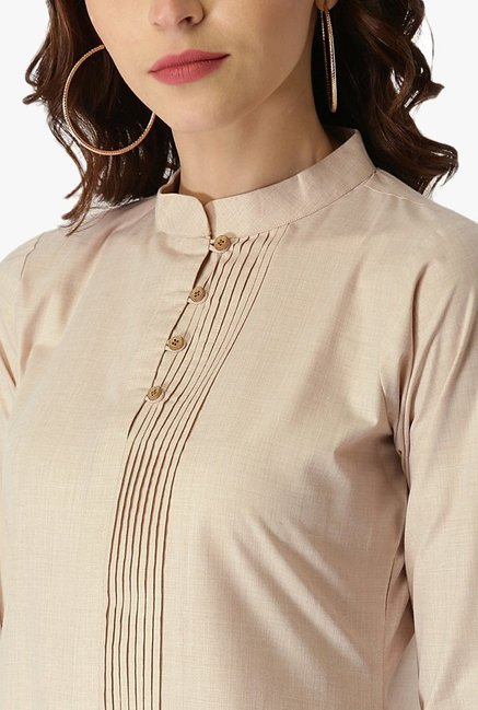 Libas Beige Textured Cotton Pathani Kurta