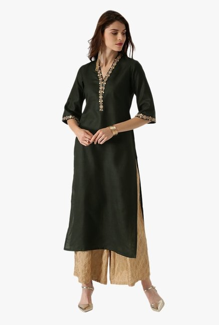 Libas Green Embroidered Cotton Kurta