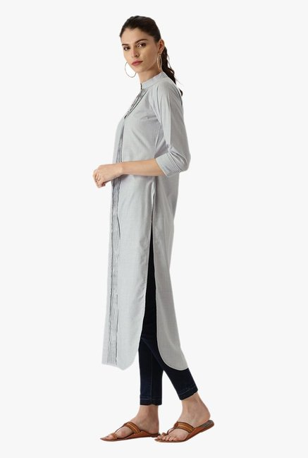 Libas Grey Textured Cotton Pathani Kurta