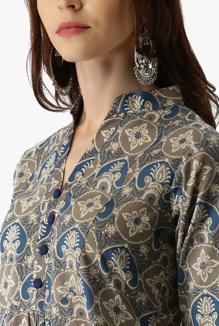 Libas Grey & Blue Printed Cotton A Line Kurta