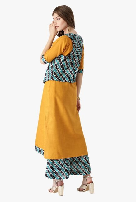 Libas Mustard & Teal Cotton Kurta, Jacket With Palazzo