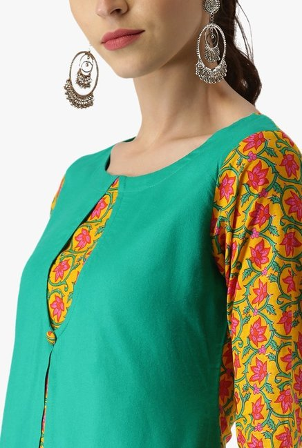 Libas Green & Yellow Floral Print Rayon Kurta With Jacket