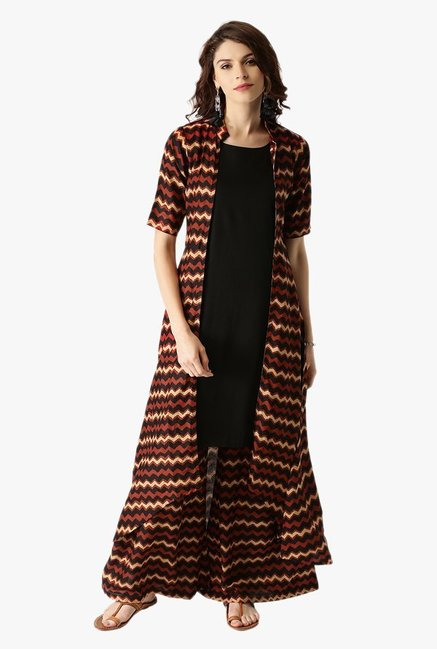Libas Multicolor Printed Rayon Kurta With Jacket