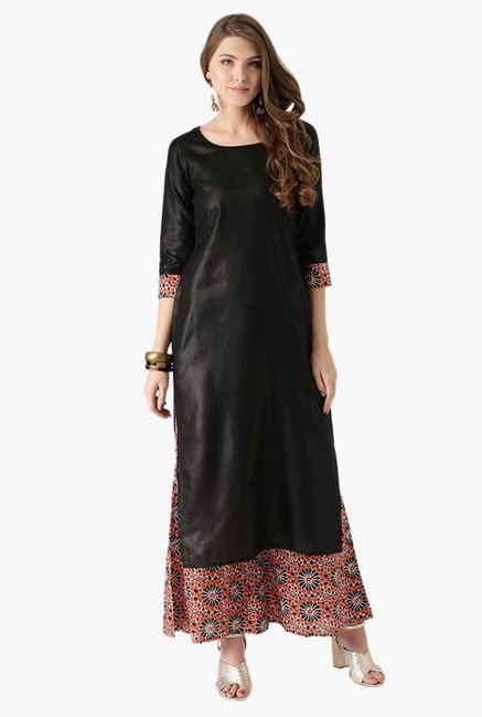 0c8c4164eff Buy Libas Black   Orange Cotton Kurta