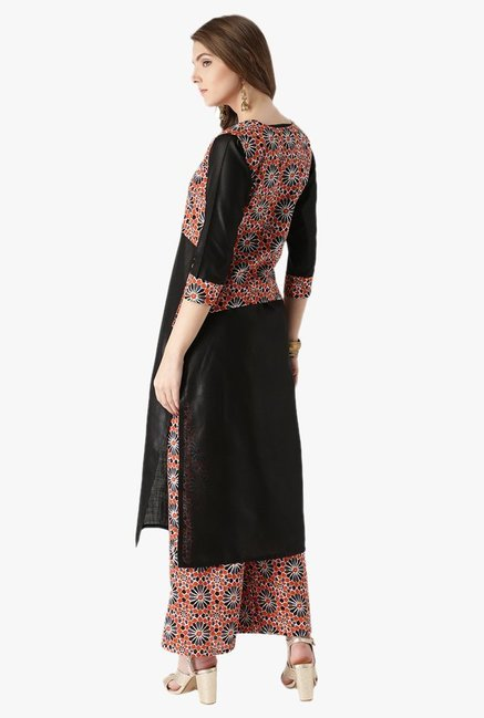 Libas Black & Orange Cotton Kurta, Jacket With Palazzo