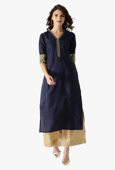 Libas Navy Embroidered Cotton Kurta